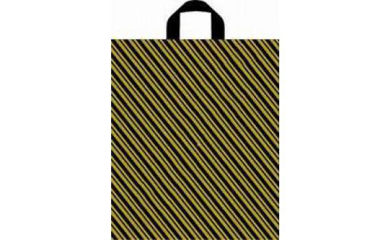 Пакет ПЭ с петлевой ручкой 40x44+6 (43) ПНД (Золотая полоса)