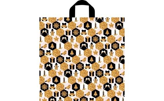 Пакет ПЭ с петлевой ручкой 44х42+6 (70) НГ (Золотая феерия)