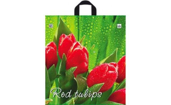Пакет ПЭ с петлевой ручкой 40x44+6 (35) (Красный тюльпан)