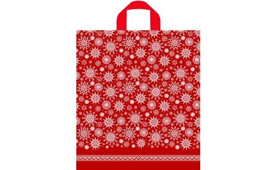 Пакет ПЭ с петлевой ручкой 40x44+6 (43) НГ ПНД (Снежинки на красном)