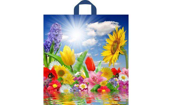 Пакет ПЭ с петлевой ручкой 38х42+6 (37) ПНД (Море цветов)