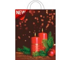 Пакет ПЭ с петлевой ручкой 28х35 (55) НГ (Рождественский вечер)