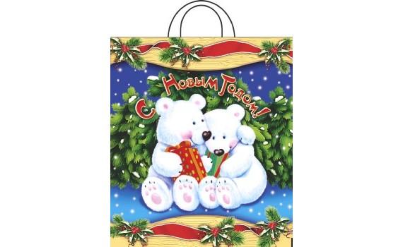 Пакет ПЭ с петлевой ручкой 38x42+6 (50) НГ ПНД (Белые медведи)
