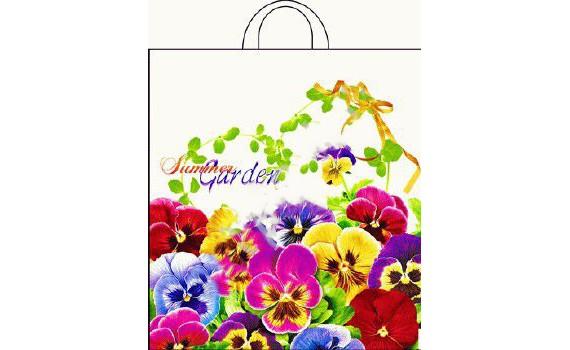 Пакет ПЭ с петлевой ручкой 38х42+6 (50) ПНД (Летний сад)