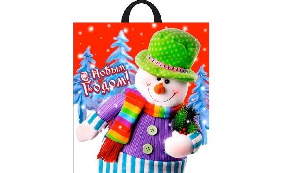 Пакет ПЭ с петлевой ручкой 40х42+6 (50) НГ (Подарок снеговика)