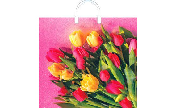 Пакет ПЭ с пластмассовыми ручками 38x35+10 (100) глянец (Царственные тюльпаны)