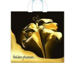 Пакет ПЭ с пластмассовыми ручками 38x35+10 (100) интенсив (Золотой цветок)