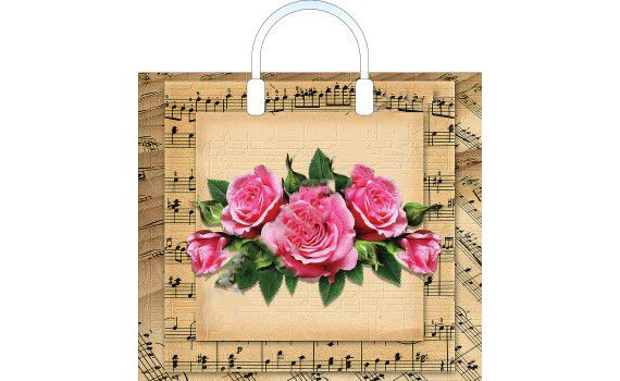 Пакет ПЭ с пластмассовыми ручками 38x35+10 (100) (Мелодия роз)