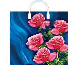 Пакет ПЭ с пластмассовыми ручками 38x35+10 (100) интенсив (Розы на синем)