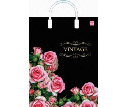 Пакет ПЭ с пластмассовыми ручками 31х40 (90) ламинация (Розовое счастье)