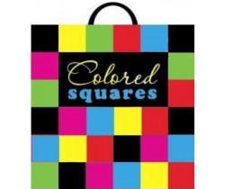 Пакет ПЭ с пластмассовыми ручками 40x40+6 (110) (Разноцветные квадраты)