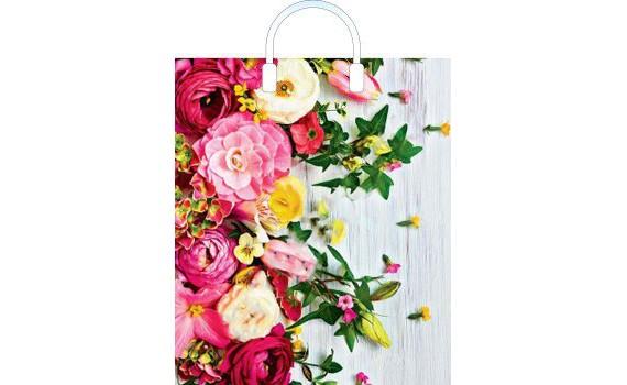Пакет ПЭ с пластмассовыми ручками 38x45+3 (100) (Нежные цветы)