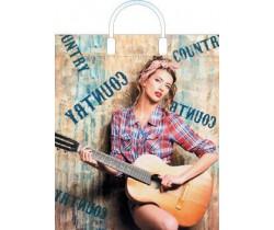 Пакет ПЭ с пластмассовыми ручками 38x45+3 (100) (Девушка с гитарой)