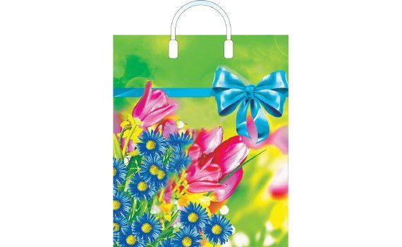 Пакет ПЭ с пластмассовыми ручками 40х44+5 (100) ламинация (Летние цветы)