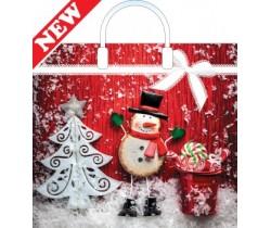 Пакет ПЭ с пластмассовыми ручками 38x36+10 (100) НГ (Кружевной снеговик)
