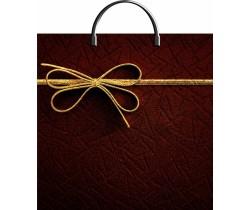 Пакет ПЭ с пластмассовыми ручками 36х37+10 (100)  (Золотой бантик)
