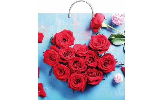 Пакет ПЭ с пластмассовыми ручками 36х37+10 (100) (Розы в лазури)