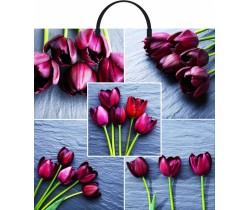 Пакет ПЭ с пластмассовыми ручками 36х37+10 (Коллаж тюльпаны)
