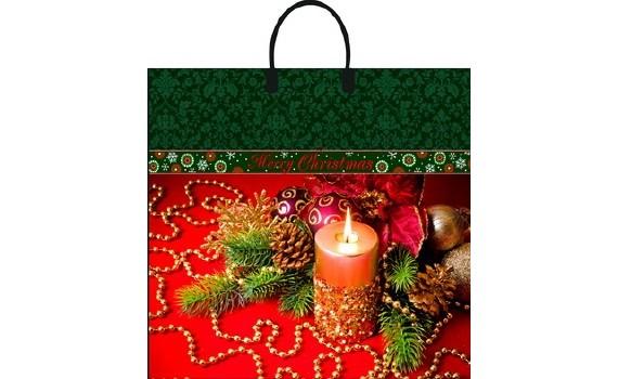 Пакет ПЭ с пластмассовыми ручками 38х35+10 (90) НГ ламинация (Новогоднее убранство)