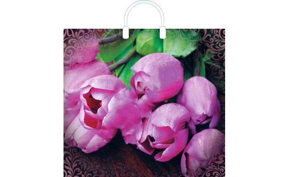 Пакет ПЭ с пластмассовыми ручками 38x35+10 (100) глянец (Дивные тюльпаны)