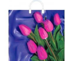 Пакет ПЭ с пластмассовыми ручками 38x35+10 (100) глянец (7 тюльпанов)