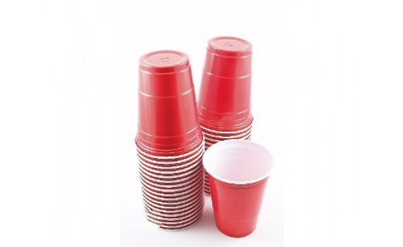 145451 Стакан 400мл красно-белый пластиковый Party Cup D=95мм Huhtamaki